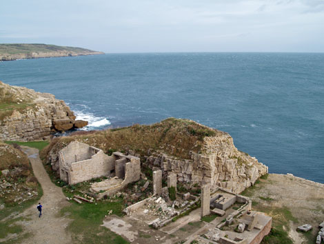 Winspit Quarries, Dorset - Durlston in background