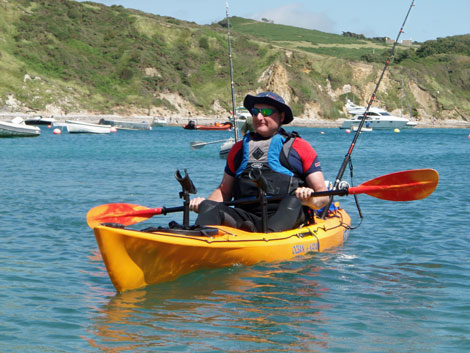 Kayak fisherman, Lulworth Cove, Dorset