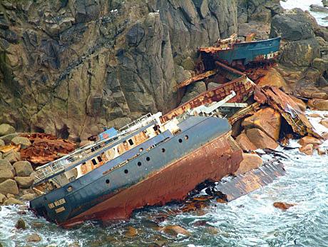 It ran aground beneath the granite cliffs on 22nd March 2003,